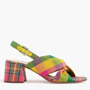 NWOT J. Crew Twisted Knot Penny Plaid Block Heel